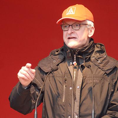 Hans-Jürgen Urban auf der Maikundgebung 2018 in Hamburg